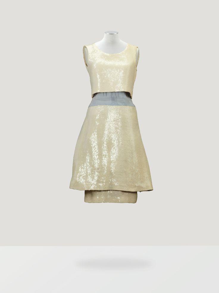 Chanel Haute Couture Robe de cocktail en paillettes ivoire 1963 L'Esprit de Gabrielle