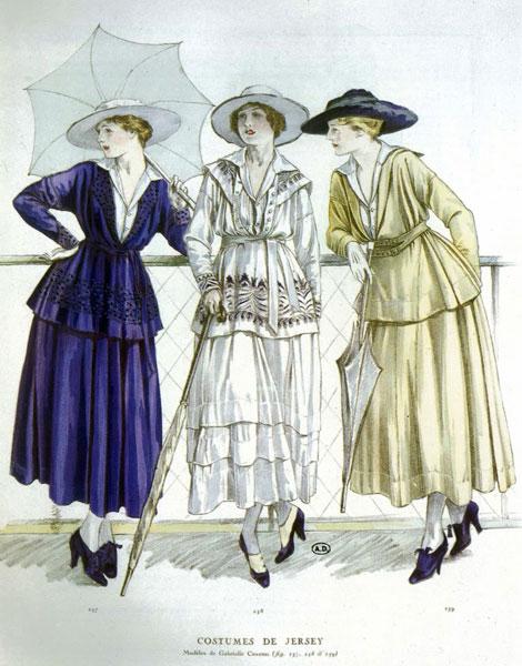 Costumes Chanel en jersey, mars 1917 Esprit de Gabrielle espritdegabrielle.com
